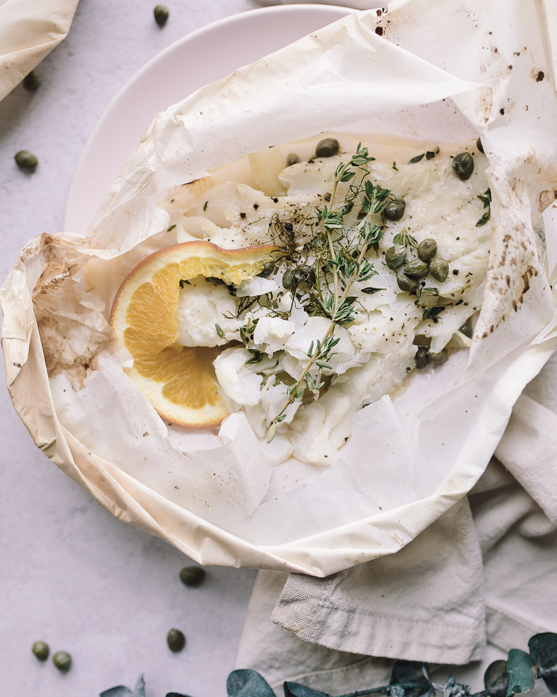 Close up of fish en papillote
