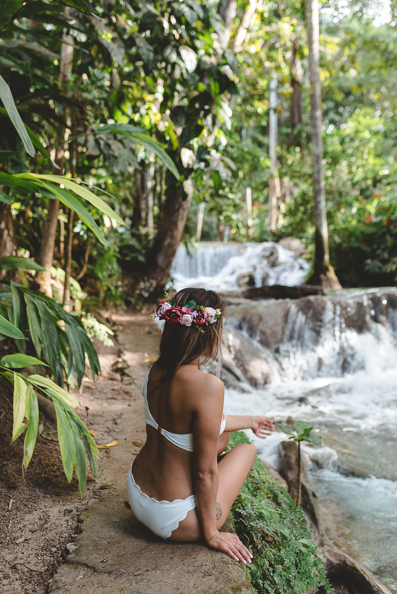 Me with flower crown at Dunn's River Falls
