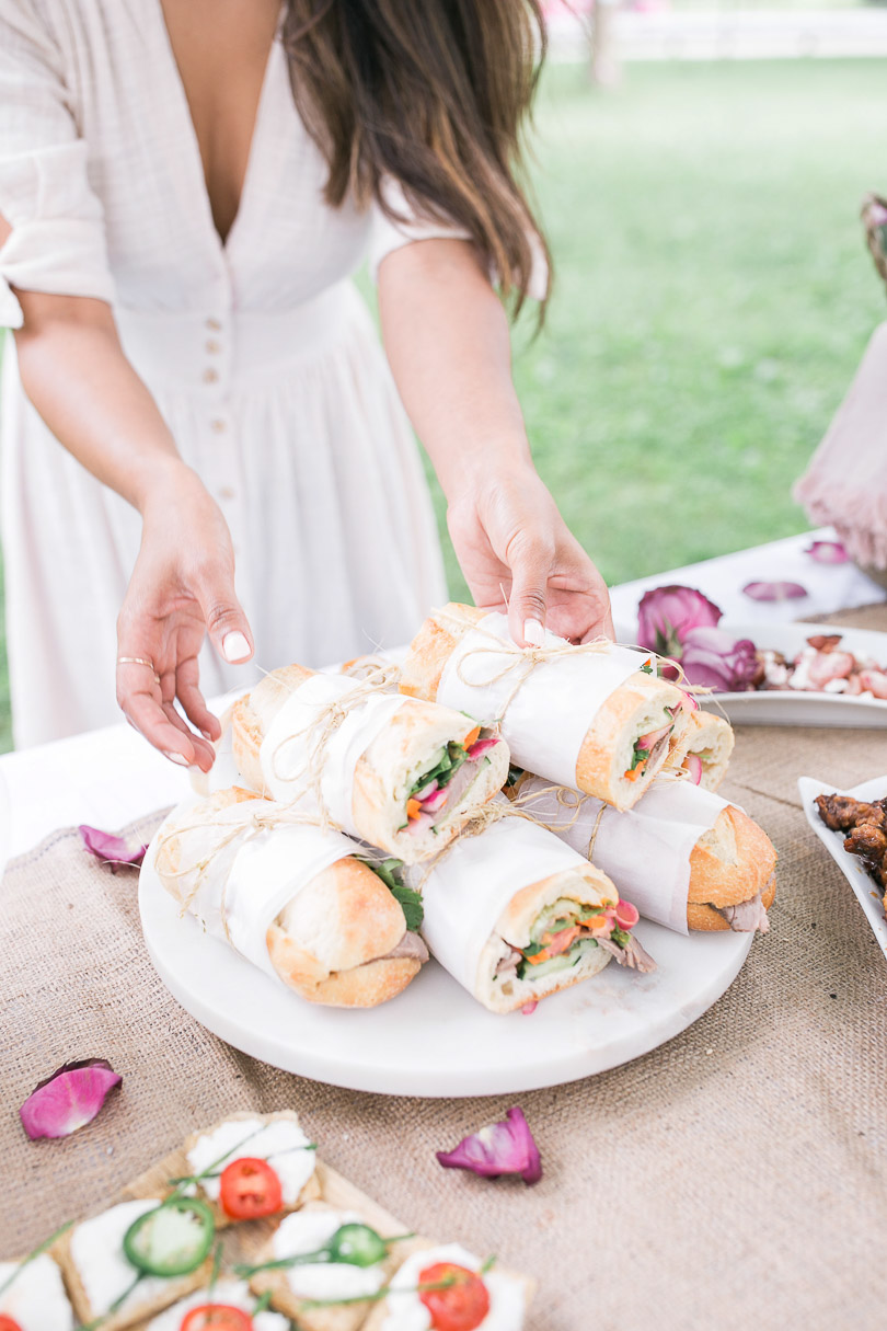 Banh mi sandwiches for picnic in the park