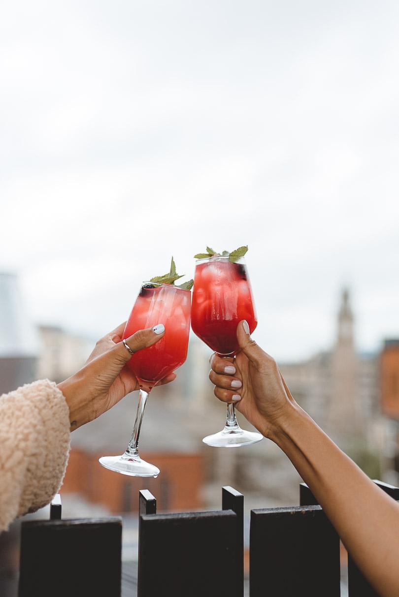 Drinks at rooftop bar at Bullitt Hotel Belfast