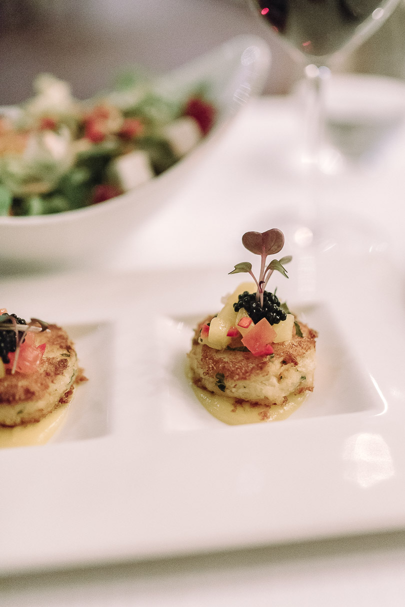 crab cakes at Fairmont Dubai