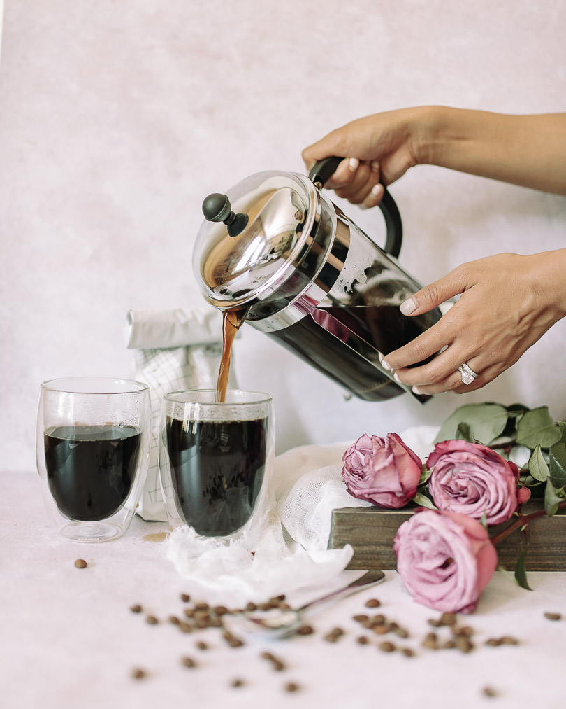 Pouring coffee from French Press