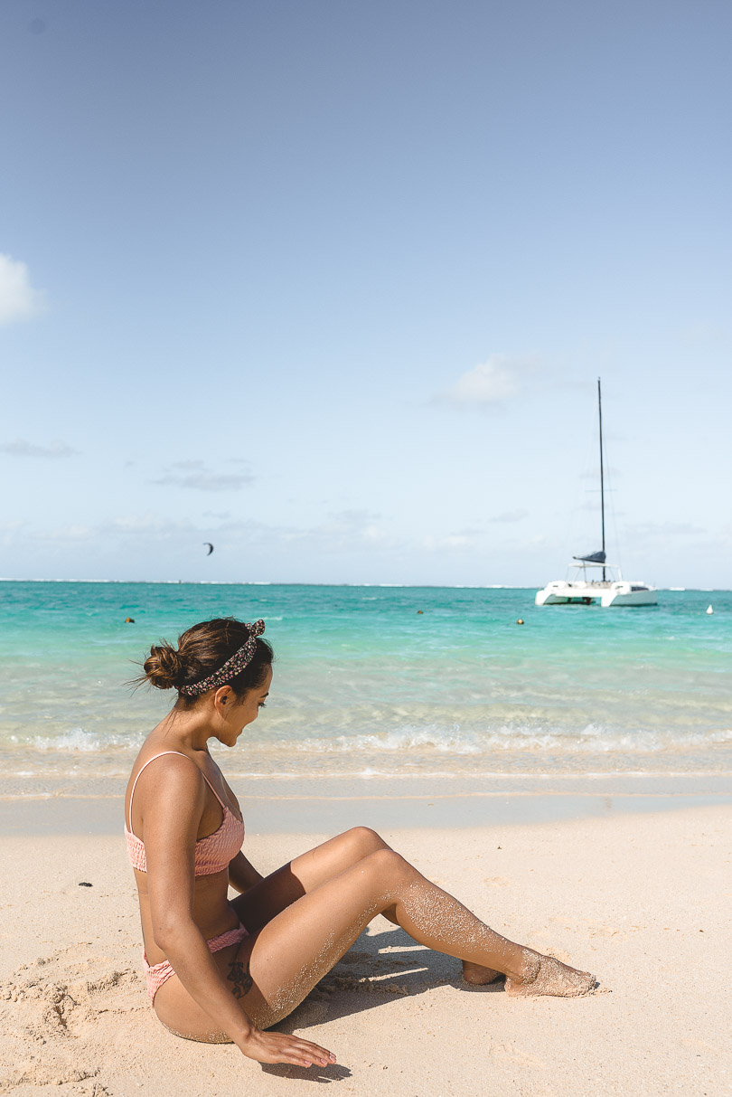 Sitting at Point d'Esny beach Mauritius