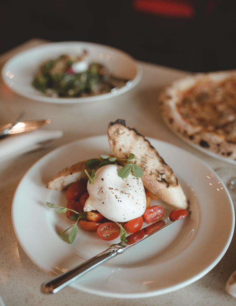 Burrata at Kitchen76 at Two Sisters Vineyards