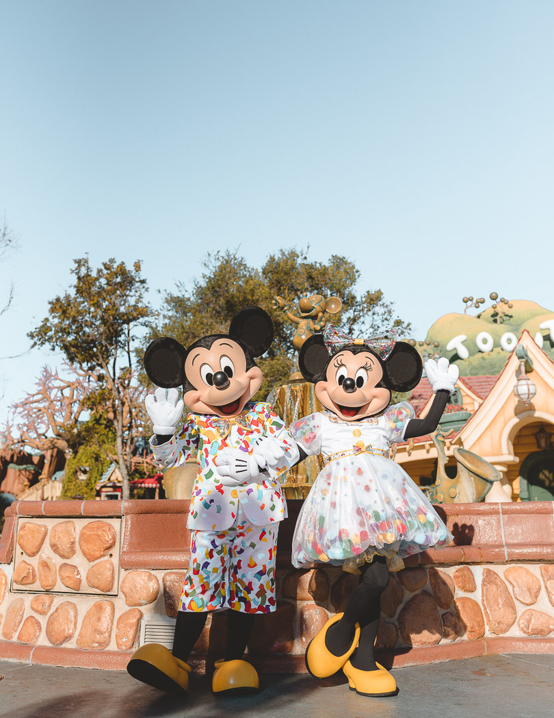 mickey mouse and minnie mouse at toon town in disneyland