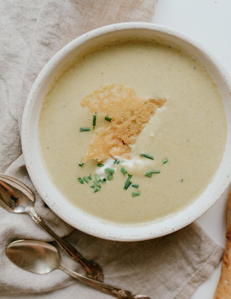 potato & leek soup with grana padano tuiles