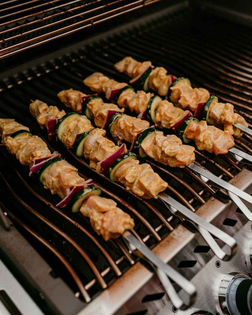chicken kebabs on barbecue