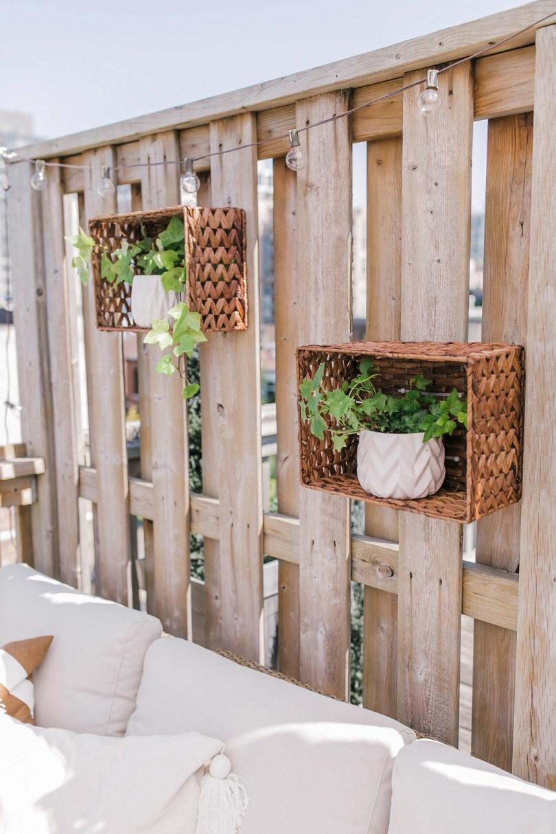 wicker basket planters