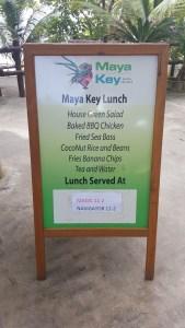 Maya Key lunch menu
