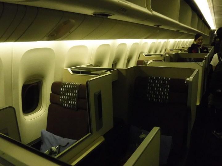 JAL 777 business class cabin