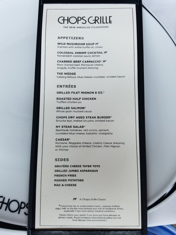 Chops Grille lunch menu on Liberty of the Seas, 26 June 2017.
