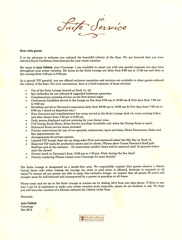 The letter in our Grand Suite explaining our Royal Caribbean suite perks.