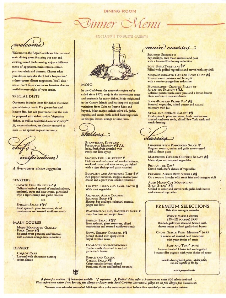 Mojo dinner menu on Royal Caribbean