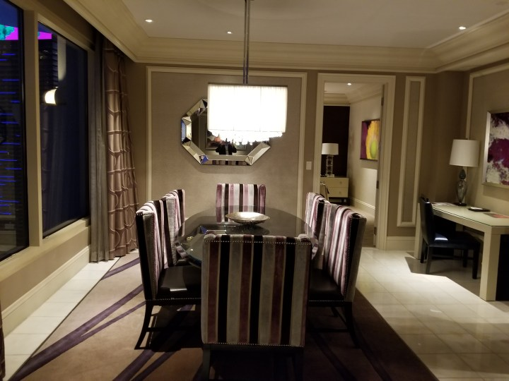 The dining space of our Bellagio two bedroom penthouse.
