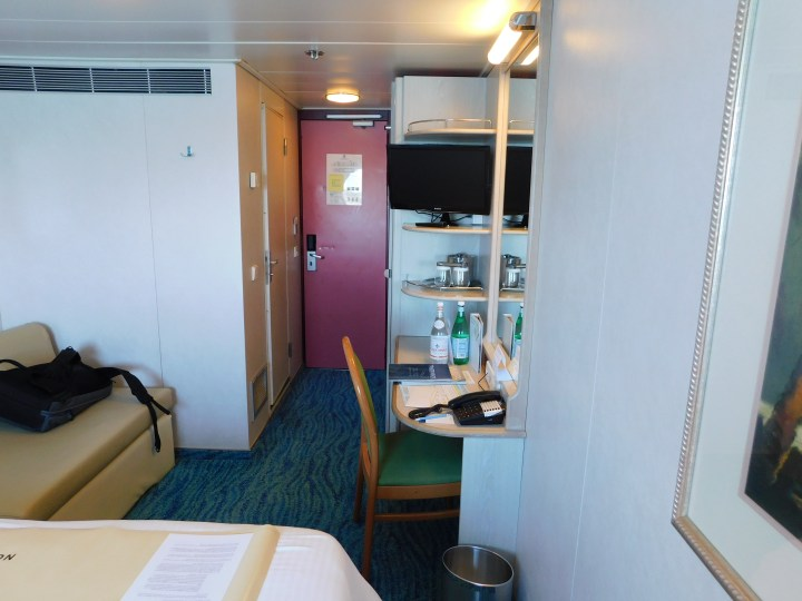 Norwegian Sky oceanview cabin looking back toward the door. The desk was great. Unfortunately, there was only one power plug in the whole room.
