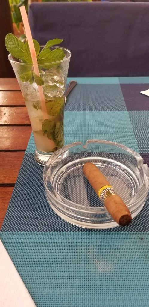 Mojito and cigar after my Havana shore excursion.