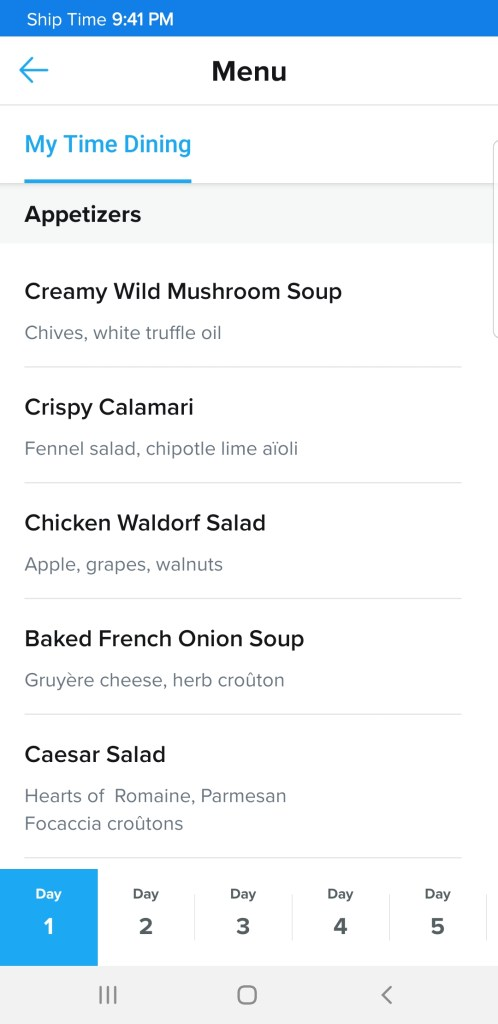 The Royal Caribbean app will show you menus several weeks before your cruise.