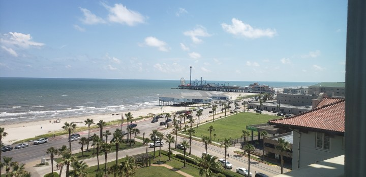 A view of the Please Pier from our room at the Hotel Galvez. You have to pay more for a room with a Gulf view, but we very much enjoyed that.