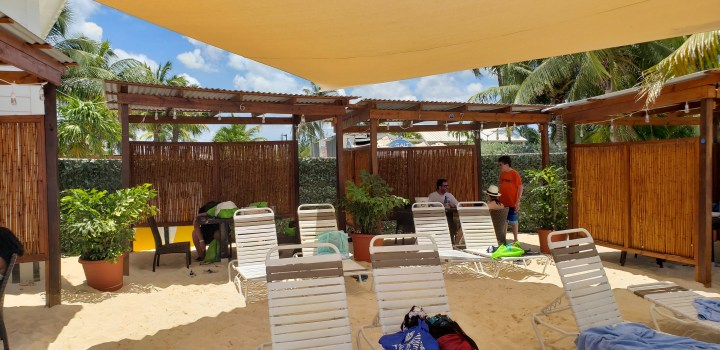 Our private cabanas at the Royal Palms Beach Club came with waiter service.