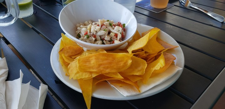 The ceviche at Cayman Cabana was an excellent choice,. Like all of the food, the presentation was fantastic.