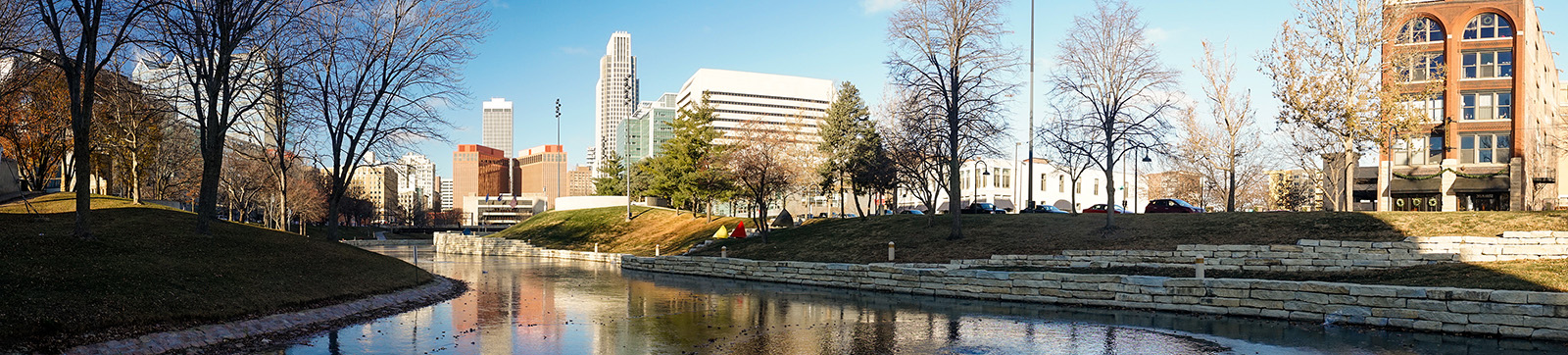 Riverfront buildings, art, bridges and architecture of Omaha, Nebraska