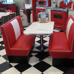 Red Retro Kitchen Table And Chairs Renting Tables Diner Booth Sets Home Deco Cornerbooths