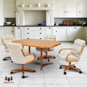 kitchen table and chairs with wheels ikea bedroom caster dinette sets dining set swivel chromcraft c117 946 t324 466 laminate