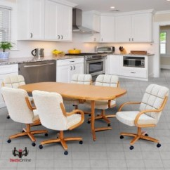 Kitchen Table And Chairs With Wheels White Wooden Rocking Chair For Nursery Uk Caster Dinette Sets Dining Set Swivel Chromcraft C117 946 T824 466 7pc Laminate