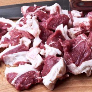 Cut pieces of lamb meat