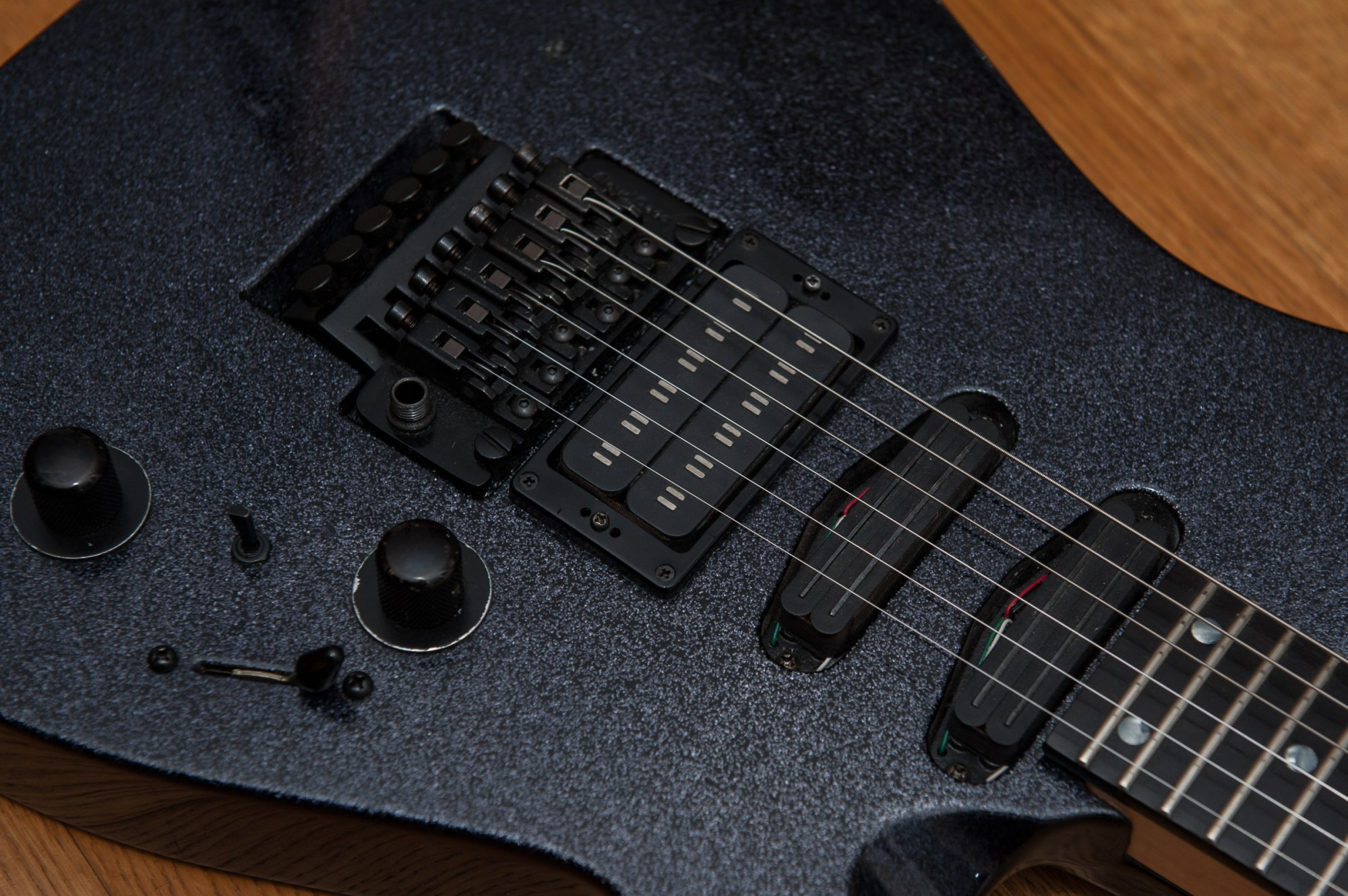 hight resolution of proaxe deluxe closeup showing floyd rose pro and seymour duncan pickups