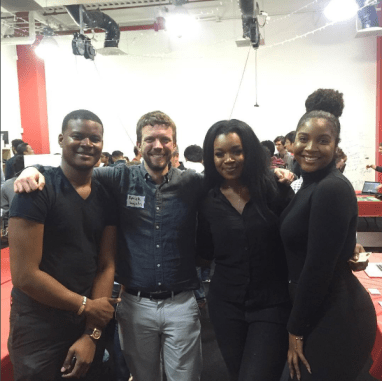 The POSH team (from left: William Kwao, Nathalyn Nunoo and Elania Tait) posing with College Park Mayor Patrick Wojahn at Startup Shell Expo