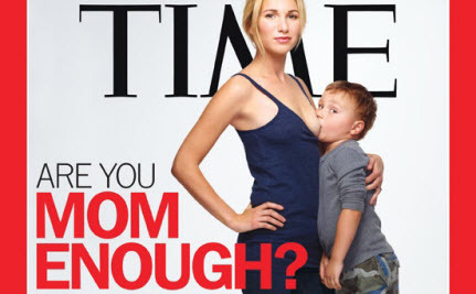 A magazine cover showing a pale blond slim woman wearing jeans and a tank top (Jamie Lynn Grumet) standing next to a child's chair, on which stands her 3-year old son who is suckling at her breast (her top is pulled down just enough to allow his mouth to attach to her nipple)