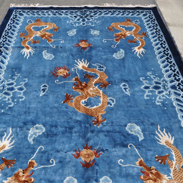large chinese silk dragon rug — 9 ft. 7 in. by 6 ft. 1 in. – dingo