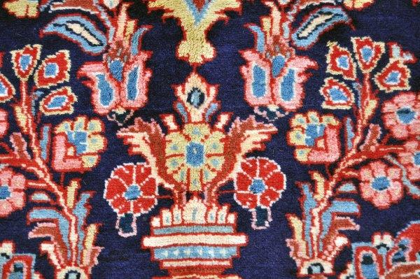 Persian Sarouk Navy Blue Rug