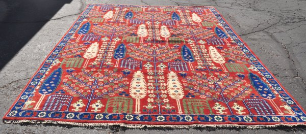 pictorian handwoven India carpet