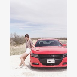 Renting a bright red Dodge Charger
