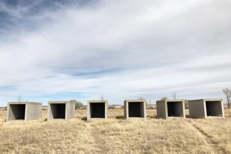 Donald Judd's concrete boxes in the Chinati Foundation in Marfa