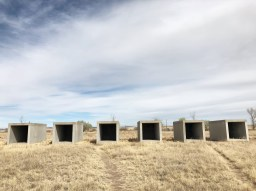Donald Judd's concrete boxes in the Chinati Foundation in Marfa