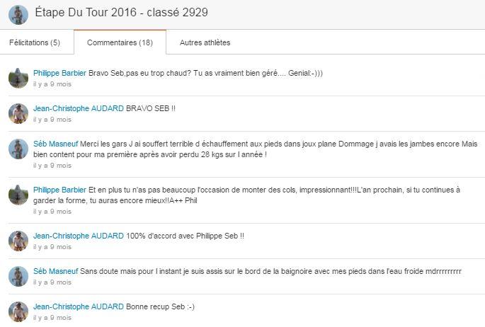 Mode d'emploi STRAVA - Commentaires des amis sur mon Etape du Tour 2016