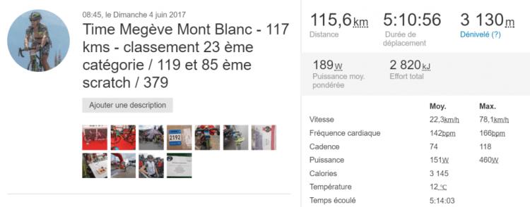 Time Megève Mont Blanc 2017 -  Content de ma perf sur la Time 2017