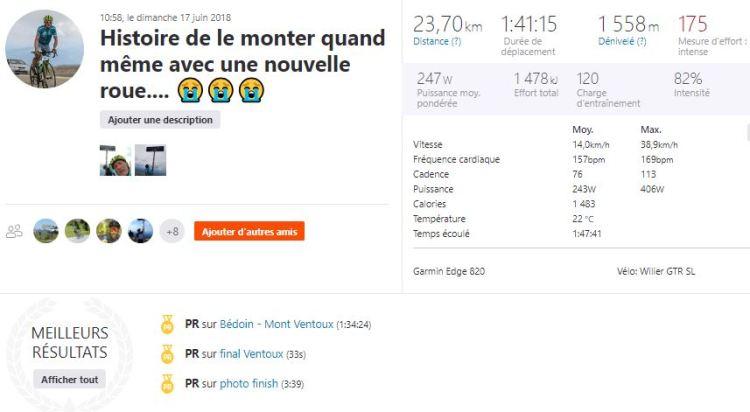 dingue de vélo - Santini Ventoux 2018 - montée hors course