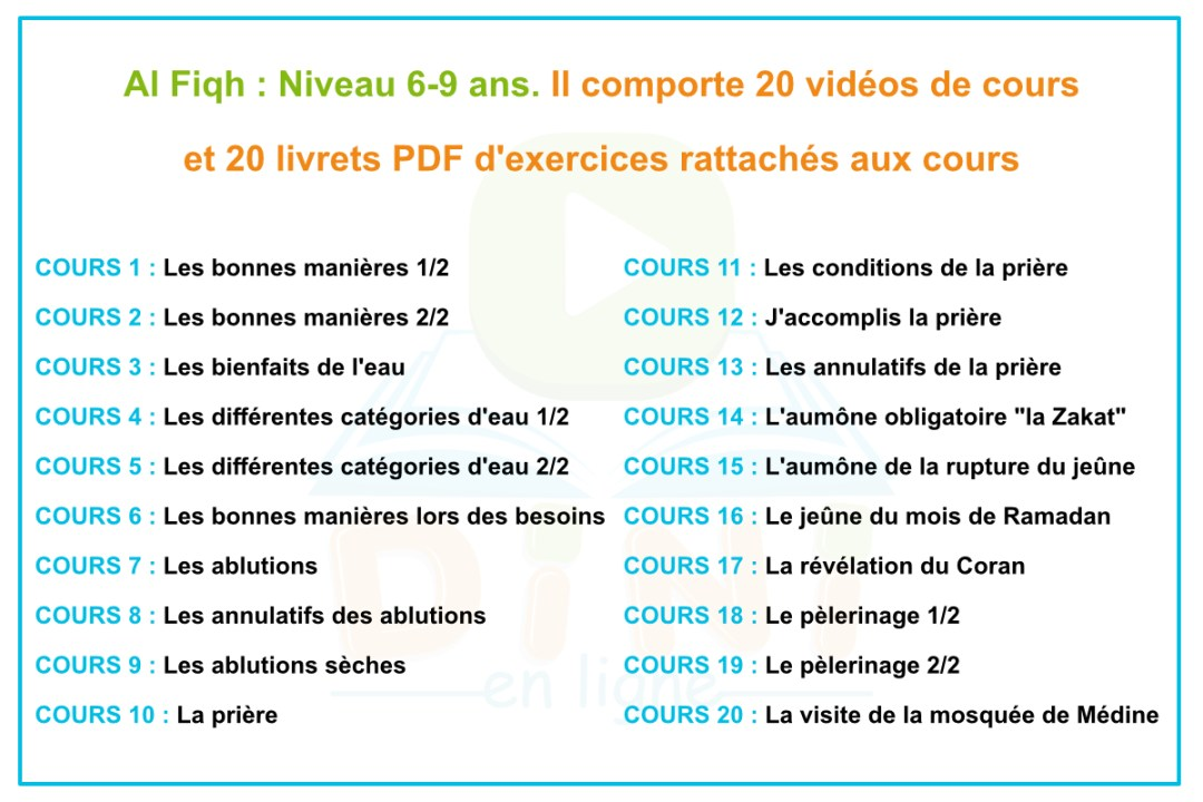 Sommaire 6-9 ans Fiqh
