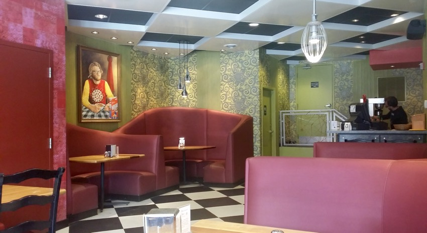 eclectic interior at Galactic Pizza in Uptown