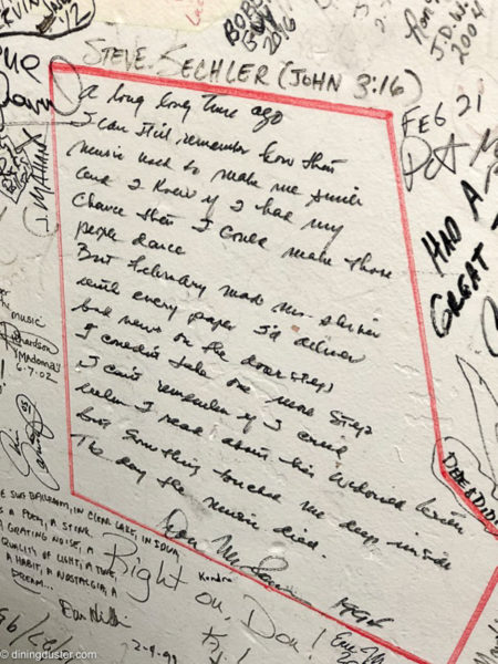 musical history surf ballroom Don McLean signature and message in Green Room