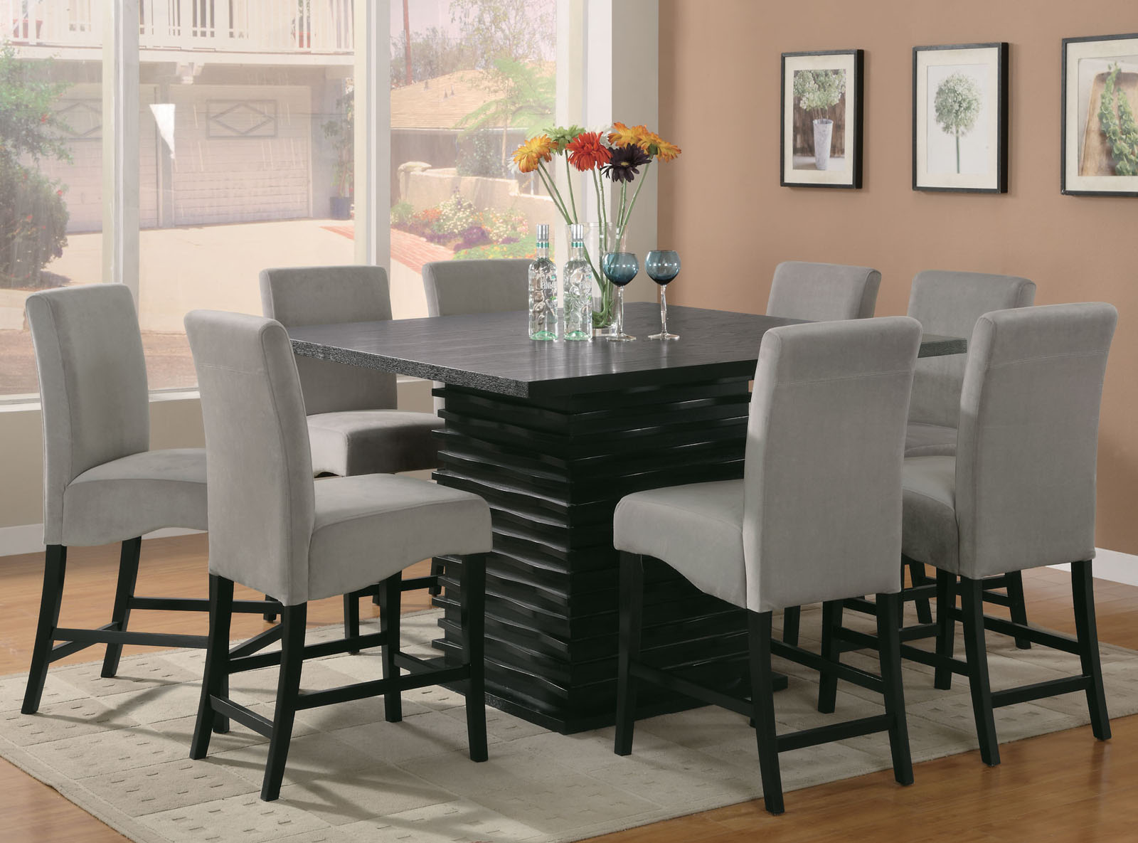 8 Chair Dining Set Coaster Stanton 9pc Counter Height Dining Set In Black With Gray Chairs 102068gry
