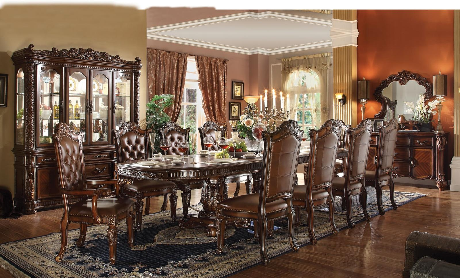 Dining Room Chair Sets Acme Vendome 11pc Double Pedestal Dining Room Set In Cherry