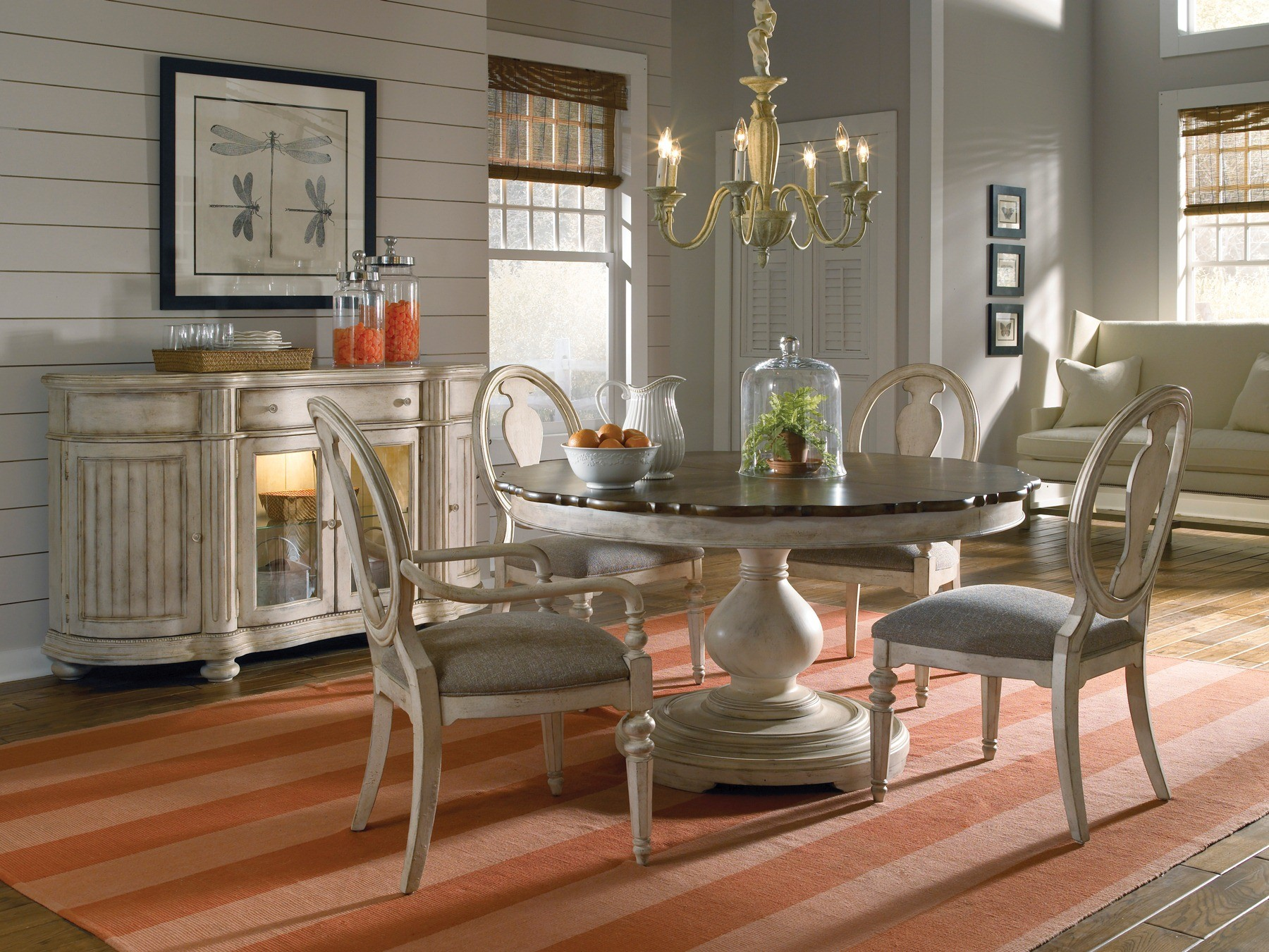 Dining Room Chair Sets A R T Belmar Ii Round Dining Set In White