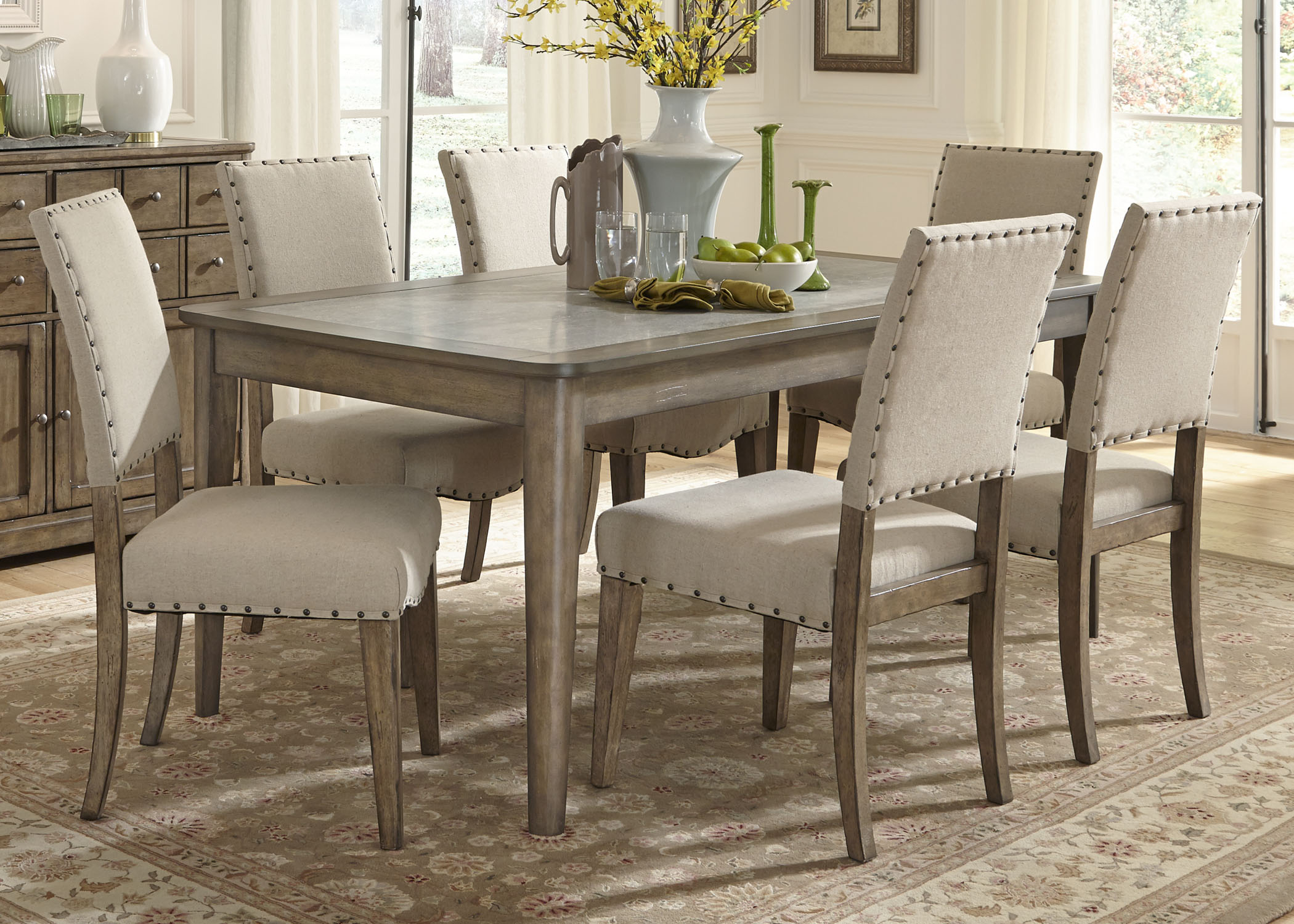 Rectangle Kitchen Table And Chairs Liberty Furniture Weatherford 7 Piece Rectangular Leg