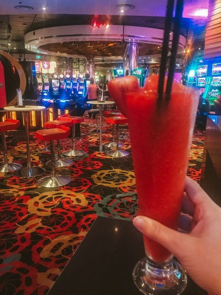 Drinking cocktails at the casino