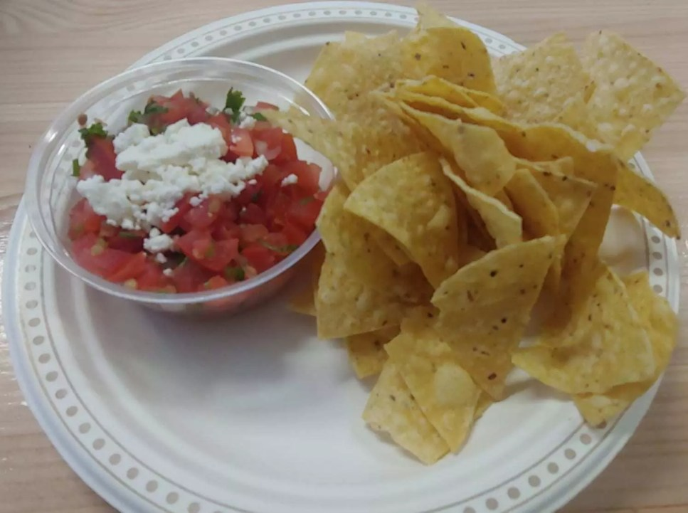 Pico de gallo and chips for my starter